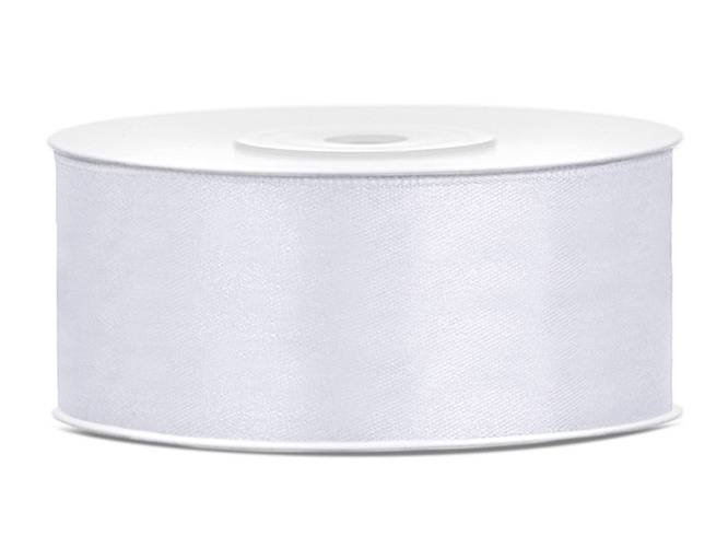 Tasiemka satynowa, biała, 25 mm / 25 m, 1 szt.