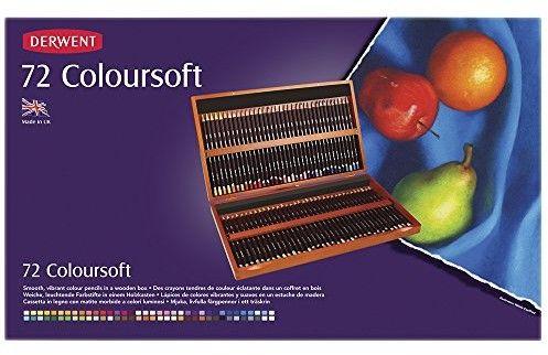 Zestaw Kredek Derwent ColourSoft 72 kolory (Kaseta Drewniana)