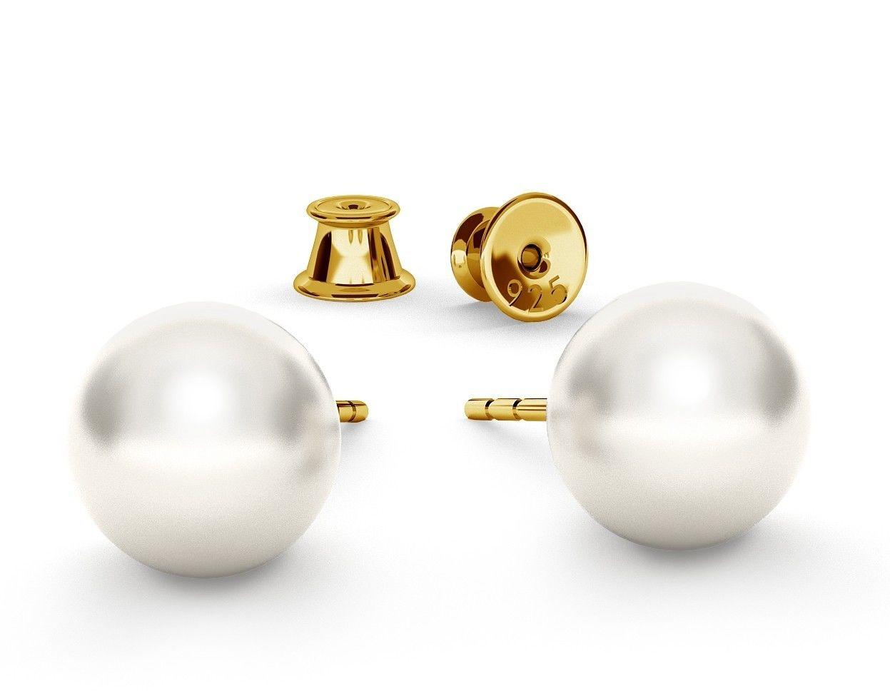 Srebrne kolczyki perła Swarovski 925, srebro 925 : Perła - kolory - SWAROVSKI WHITE, Srebro - kolor pokrycia - Pokrycie żółtym 18K złotem