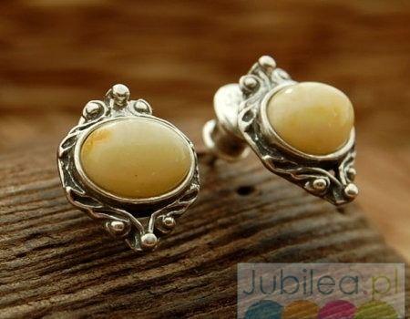 Cambara - srebrne kolczyki z bursztynem