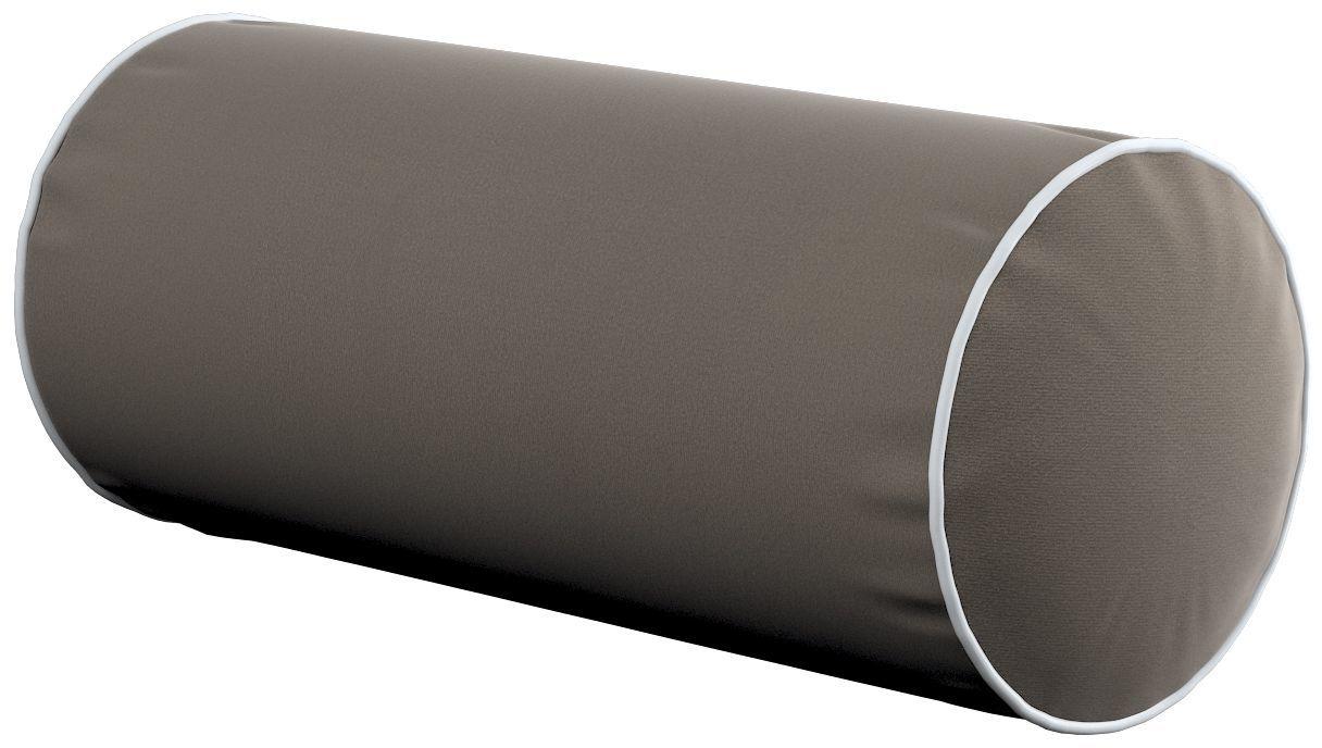 Poduszka wałek prosty z lamówką, srebrzysty beż, Ø16  40 cm, Velvet