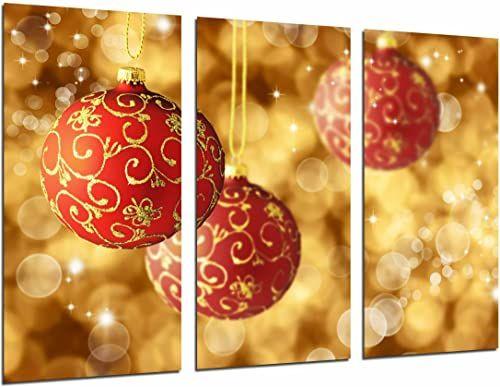 Obraz ścienny - dekoracja bożonarodzeniowa - złoty i czerwony kolor, bombki na drzewo, 97 x 62 cm, druk drewniany - format XXL - druk artystyczny, nr 26947