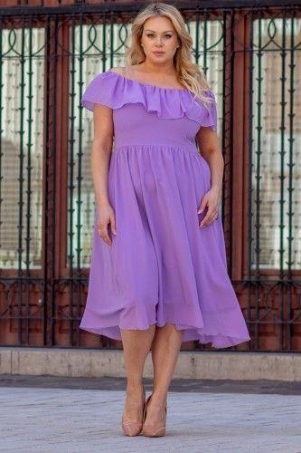 Sukienka ekskluzywna hiszpanka szyfonowa MILANO fiolet