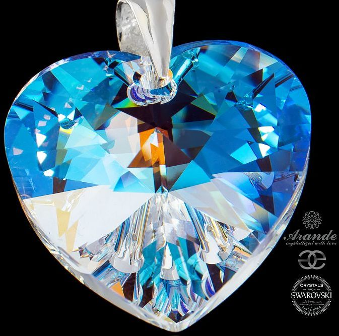 SWAROVSKI duży WISIOREK Serce Blue Aurora Srebro
