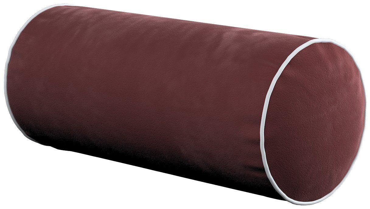 Poduszka wałek prosty z lamówką, bordowy, Ø16  40 cm, Velvet