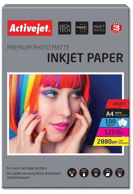 Papier fotograficzny matowy Activejet A4 100szt. 125g/m2
