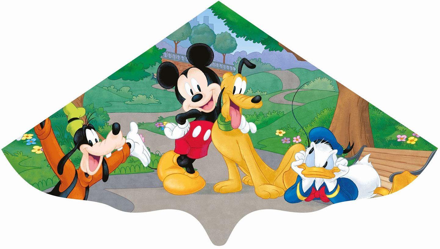 Paul Günther 1109 - smok dziecięcy z motywem Myszki Miki Disney, jednorożec z wytrzymałej folii PE dla dzieci od 4 lat z uchwytem i sznurkiem, ok. 115 x 63 cm rozmiar