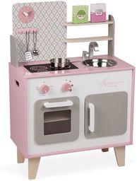 """Janod J06567 """"Macaron"""" drewniana kuchenka dla dzieci, wyposażona w lodówkę i kuchenkę mikrofalową, z gliną, zabawę fantazją, z 5-częściowymi akcesoriami, dla dzieci od 3 lat, różowy i biały"""