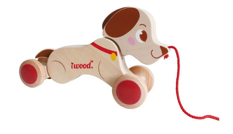 Pies do ciagnięcia na sznurku Drewniany