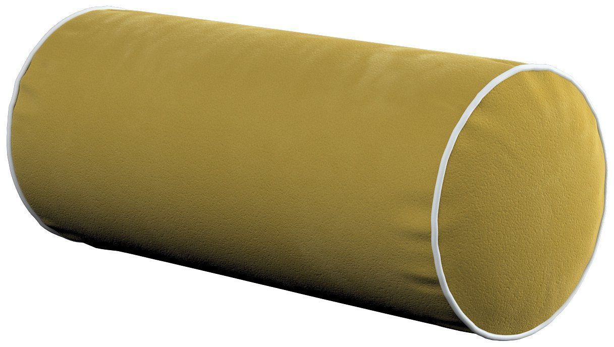 Poduszka wałek prosty z lamówką, oliwkowy zielony, Ø16  40 cm, Velvet