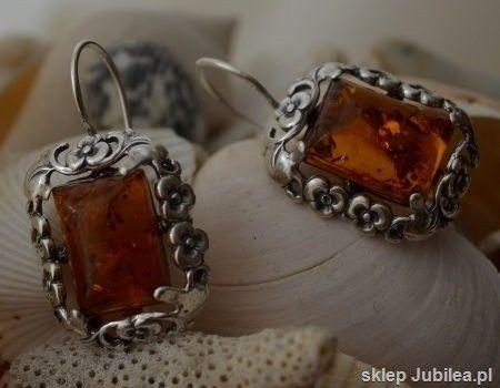 Arancza - srebrne kolczyki z bursztynem