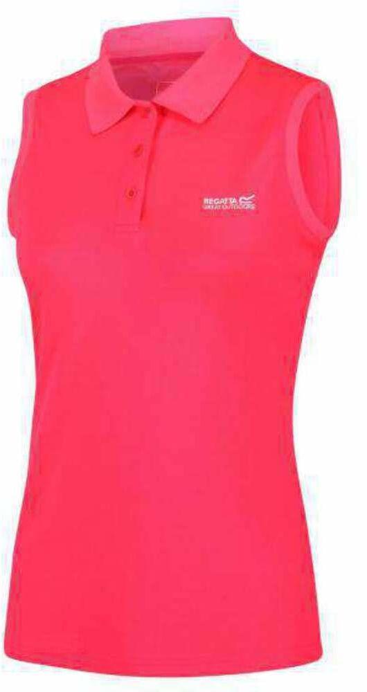 Regatta Tima damska koszulka polo bez rękawów, damska, RWT116, neonowy różowy, FR : XL (Tkanina ogon 18)