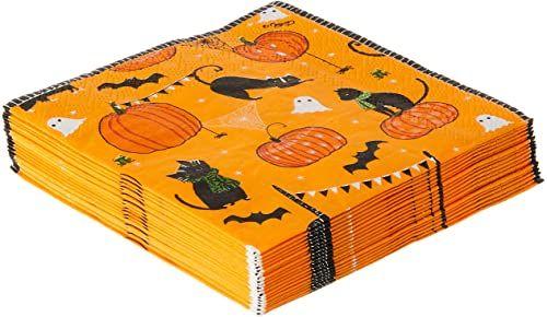Caspari zabawne straszne koty pomarańczowe serwetki koktajlowe, opakowanie 20 sztuk, papier, 3 x 0,25 x 12,7 cm