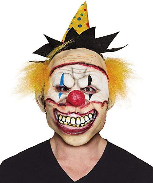 Boland 10134365 lateksowa maska na głowę Freaky Clown z kapeluszem i włosami, wielokolorowa