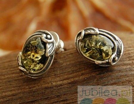 Nazza - srebrne kolczyki z bursztynem