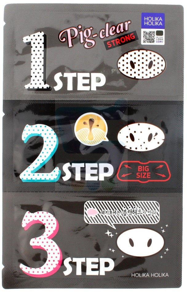 Holika Holika Pig Clear Plasterki oczyszczające na nos 3- Step Kit Strong