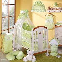 MAMO-TATO pościel 5-el Miś z serduszkiem w zieleni do łóżeczka 70x140cm - Szyfon