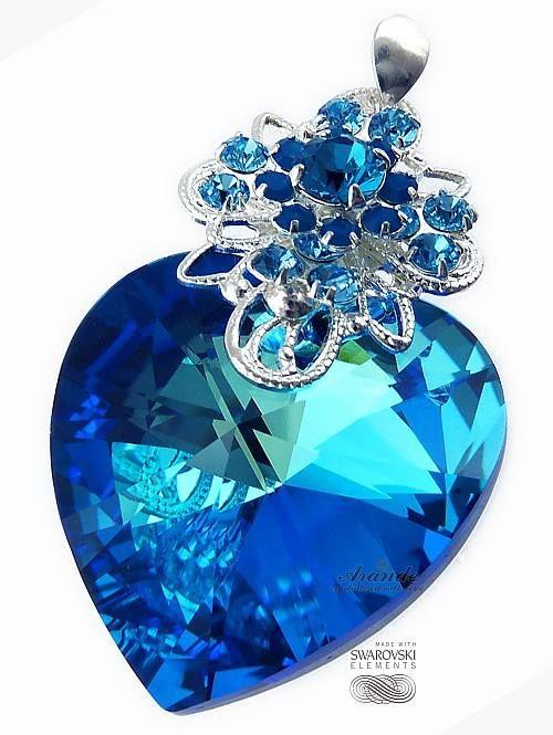 Kryształy SPECIAL Wisiorek Ocean Heart Blue SREBRO