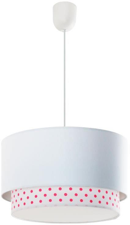 Lampex Happy A 687/A lampa wisząca nowoczesna dwuczęściowy abażur tkanina biały kropki E27 1 60W 35cm