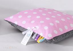 MAMO-TATO Poduszka Minky dwustronna 40x60 Grochy różowe / szary