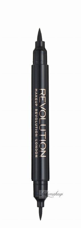 MAKEUP REVOLUTION - AWESOME DOUBLE FLICK LIQUID EYELINER - Eyeliner i kredka do oczy - BLACK