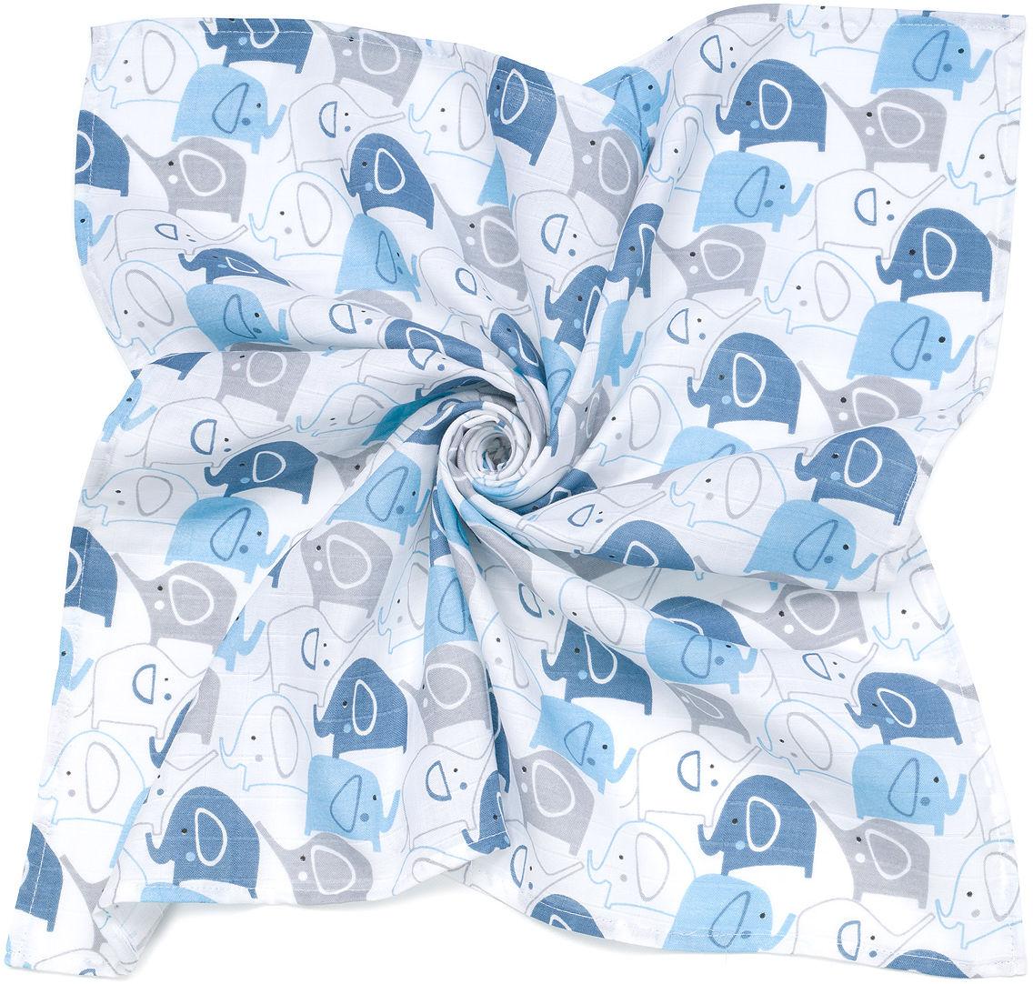 MAMO-TATO Pieluszka Otulacz muślinowy dla niemowląt 120x120 + pieluszka pielęgnacyjna GRATIS - Słonie niebieskie