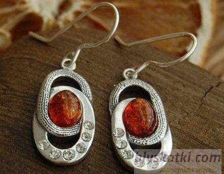 Junaya - srebrne kolczyki z bursztynem i kryształkami