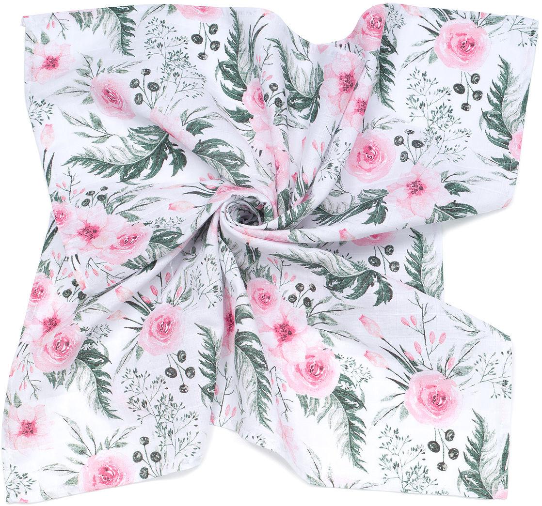 MAMO-TATO Pieluszka Otulacz muślinowy dla niemowląt 120x120 + pieluszka pielęgnacyjna GRATIS - Różany ogród