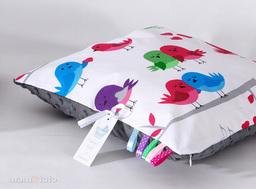 MAMO-TATO Poduszka Minky dwustronna 40x60 Ptaszki białe / szary