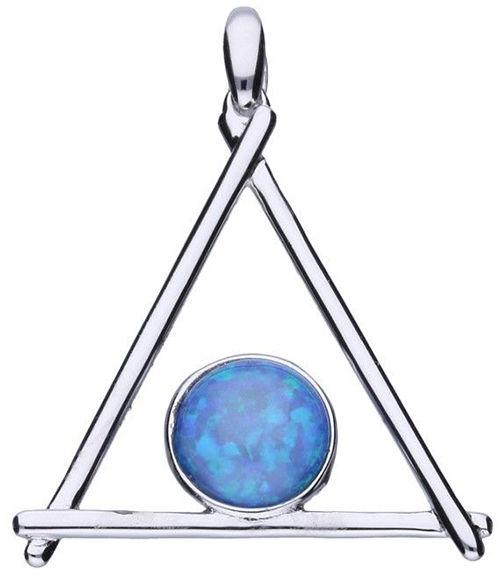 Srebrna przywieszka 925 trójkąt z opalem 1,95g
