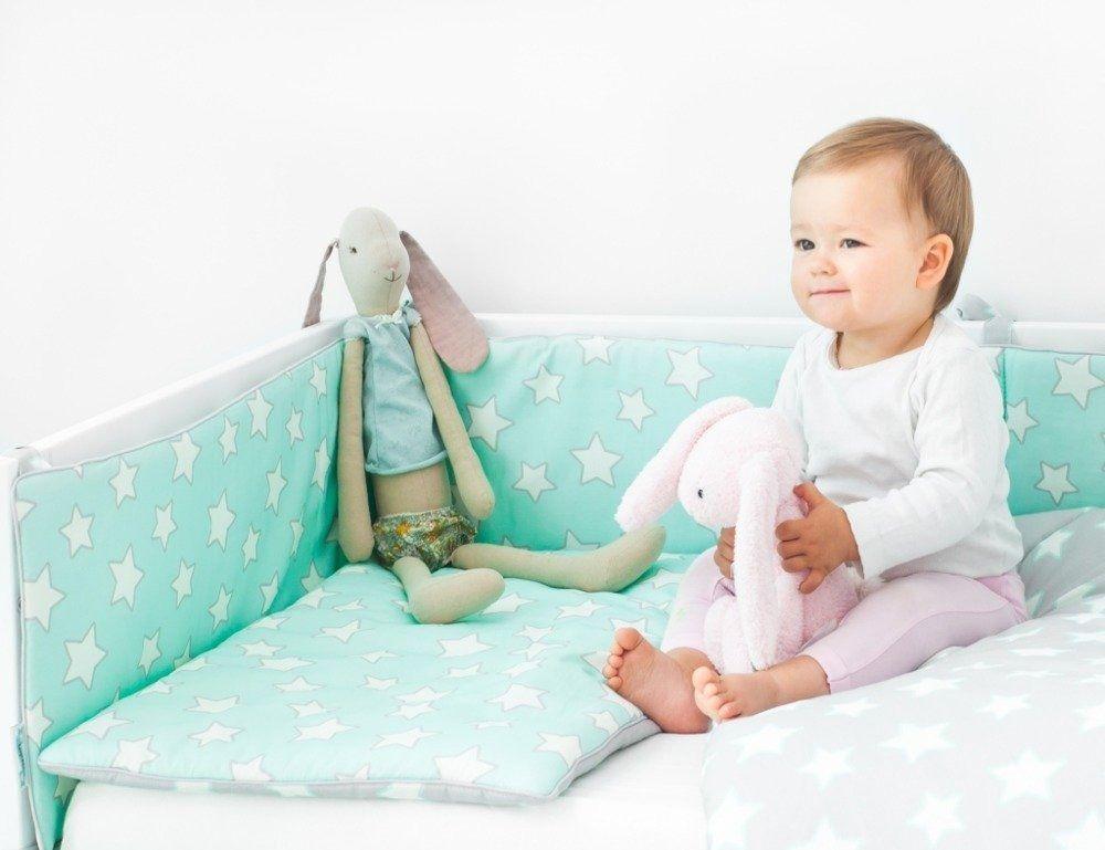 Ochraniacz do łóżeczka - Grey & Mint Stars