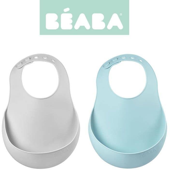 Beaba - zestaw Śliniaków Silikonowych z Kieszonką 2 Szt. Airy Green + Light Mist