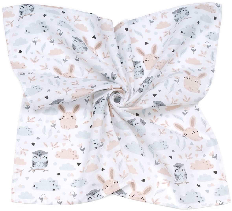 MAMO-TATO Pieluszka Otulacz muślinowy dla niemowląt 120x120 + pieluszka pielęgnacyjna GRATIS - Polana
