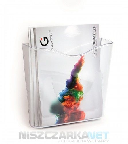 PREZENTER ŚCIENNY na ulotki i foldery A4 podajnik na oferty przeźroczyste tworzywo