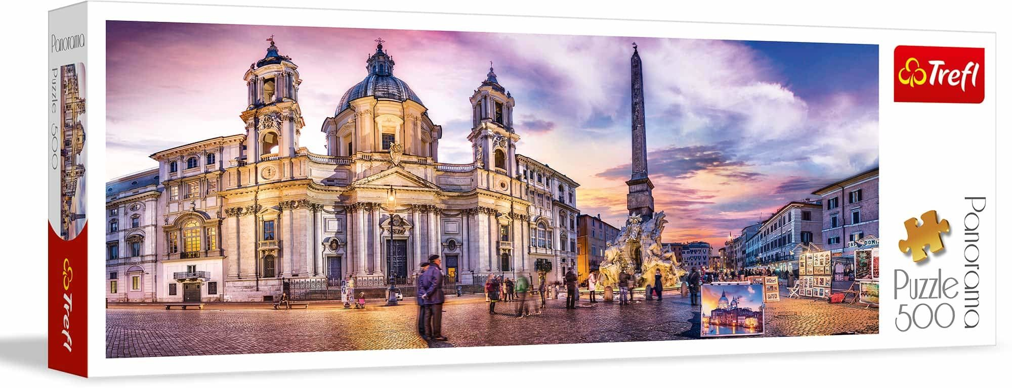 Trefl Piazza Navona, Rzym Puzzle Panoramiczne 500 Elementów o Wysokiej Jakości Nadruku, od 10 lat