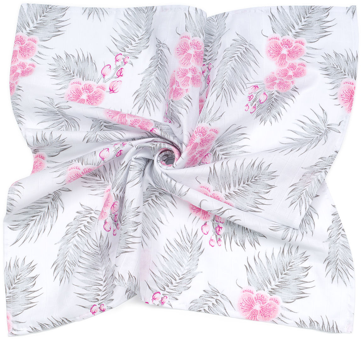 MAMO-TATO Pieluszka Otulacz muślinowy dla niemowląt 120x120 + pieluszka pielęgnacyjna GRATIS - Kwiaty
