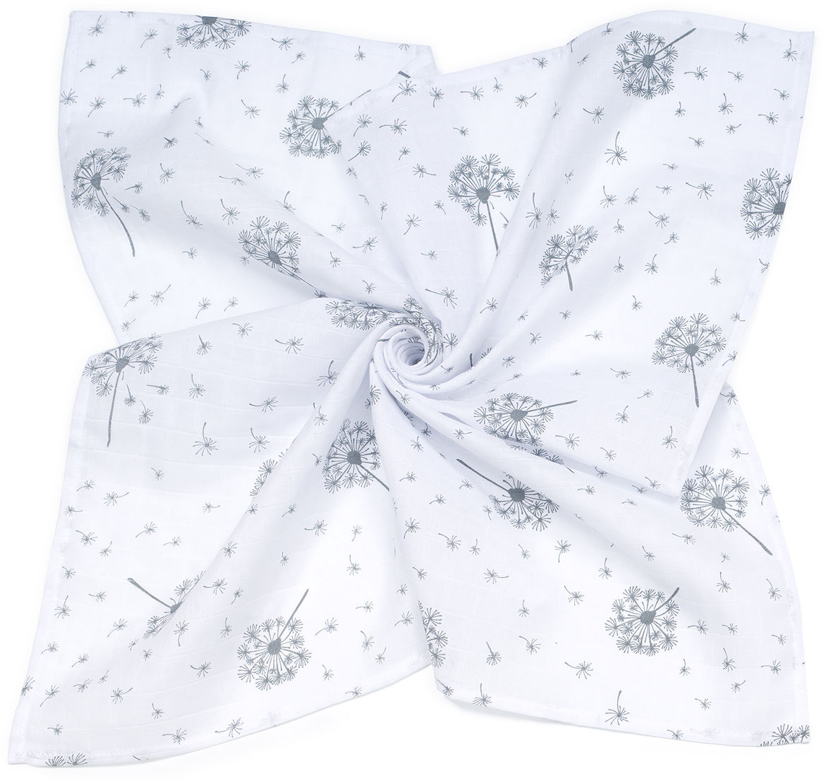 MAMO-TATO Pieluszka Otulacz muślinowy dla niemowląt 120x120 + pieluszka pielęgnacyjna GRATIS - Dmuchawce