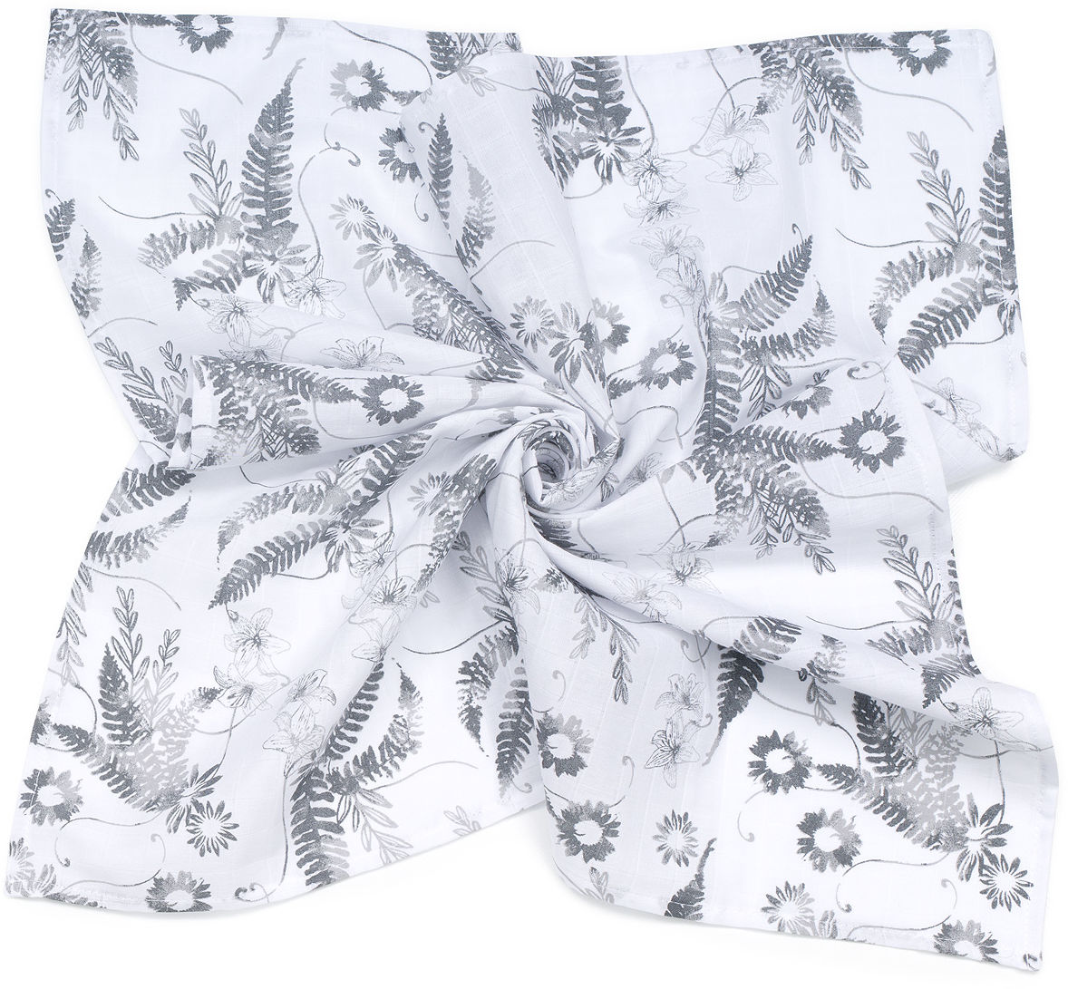 MAMO-TATO Pieluszka Otulacz muślinowy dla niemowląt 120x120 + pieluszka pielęgnacyjna GRATIS - Paprotki