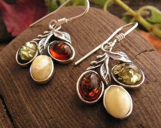 Tęcza - srebrne kolczyki z bursztynów