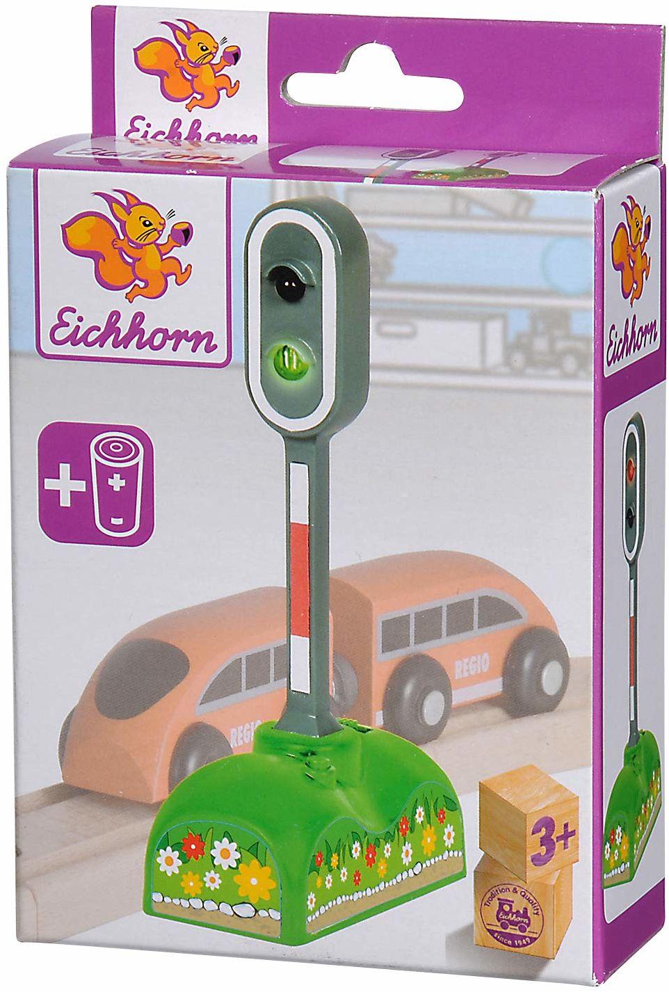 Eichhorn 100001520 - elektroltyczny sygnał świetlny, czerwone i zielone światło LED, ręczna/automatyczna funkcja światła, w zestawie baterie, 6,5 x 3 x 12,5 cm