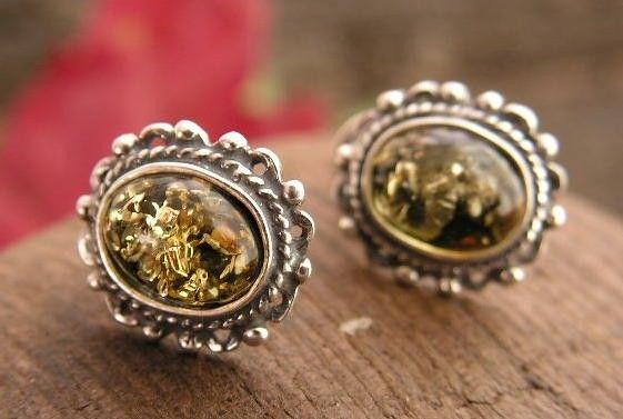 Adyga - srebrne kolczyki z bursztynem
