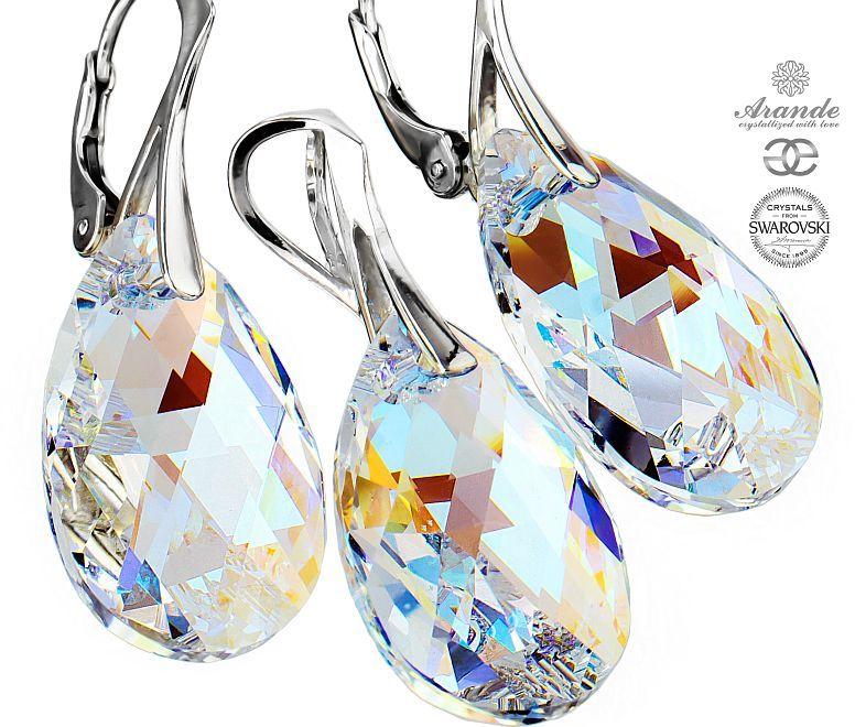 Kryształy piękny komplet BLUE AURORA SREBRO