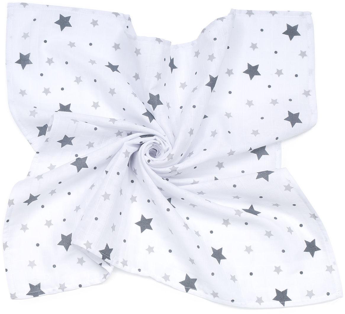 MAMO-TATO Pieluszka Otulacz muślinowy dla niemowląt 120x120 + pieluszka pielęgnacyjna GRATIS - Gwiazdy z groszkami