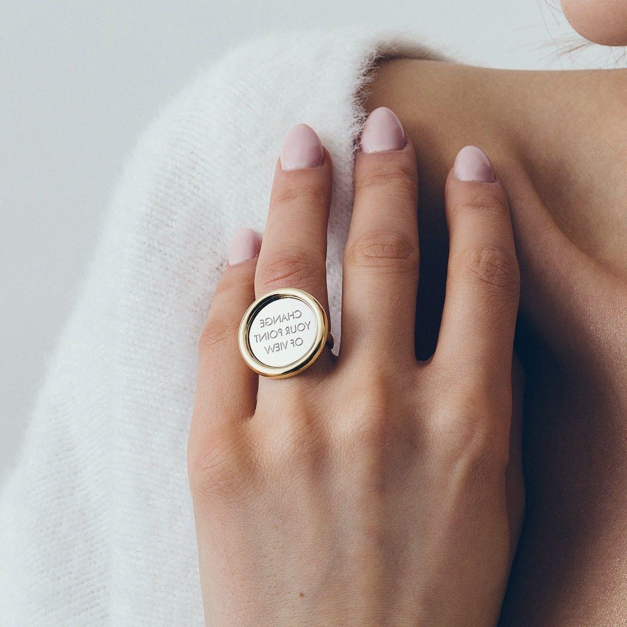 Srebrny pierścionek lustro, grawer, srebro 925 : ROZMIAR PIERŚCIONKA - 11 UK:L 16,00 MM, Srebro - kolor pokrycia - Pokrycie żółtym 18K złotem