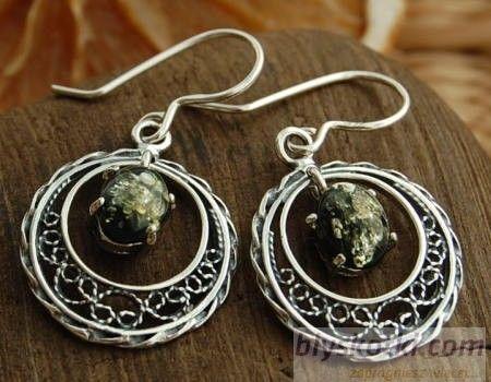 Rivia - srebrne kolczyki z bursztynem