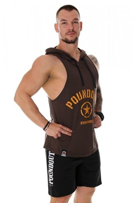 Poundout tank top bokserka z kapturem FORCE brązowy