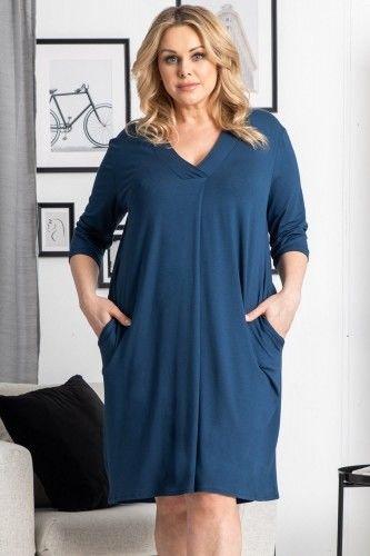 Sukienka oversize dzianinowa dekolt serek FLORYDA jeans