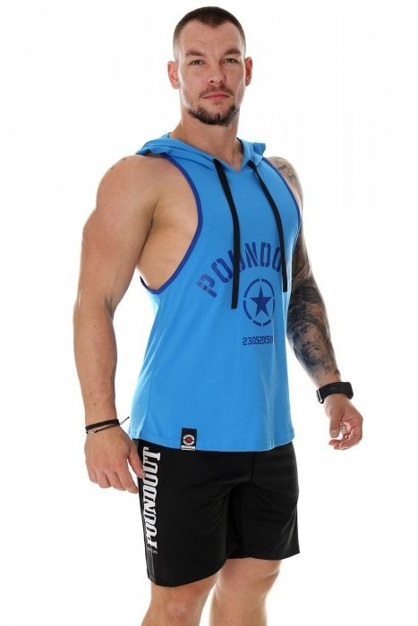 Poundout tank top bokserka z kapturem FORCE niebieski