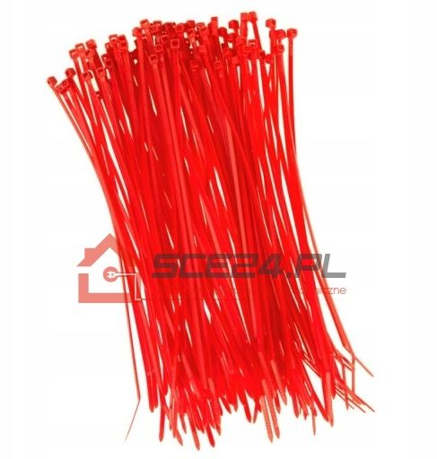 Opaski zaciskowe 2,5 x 200 TRYTKI czerwone 100szt