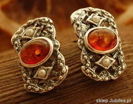 Iris - srebrne kolczyki z bursztynami i perłami
